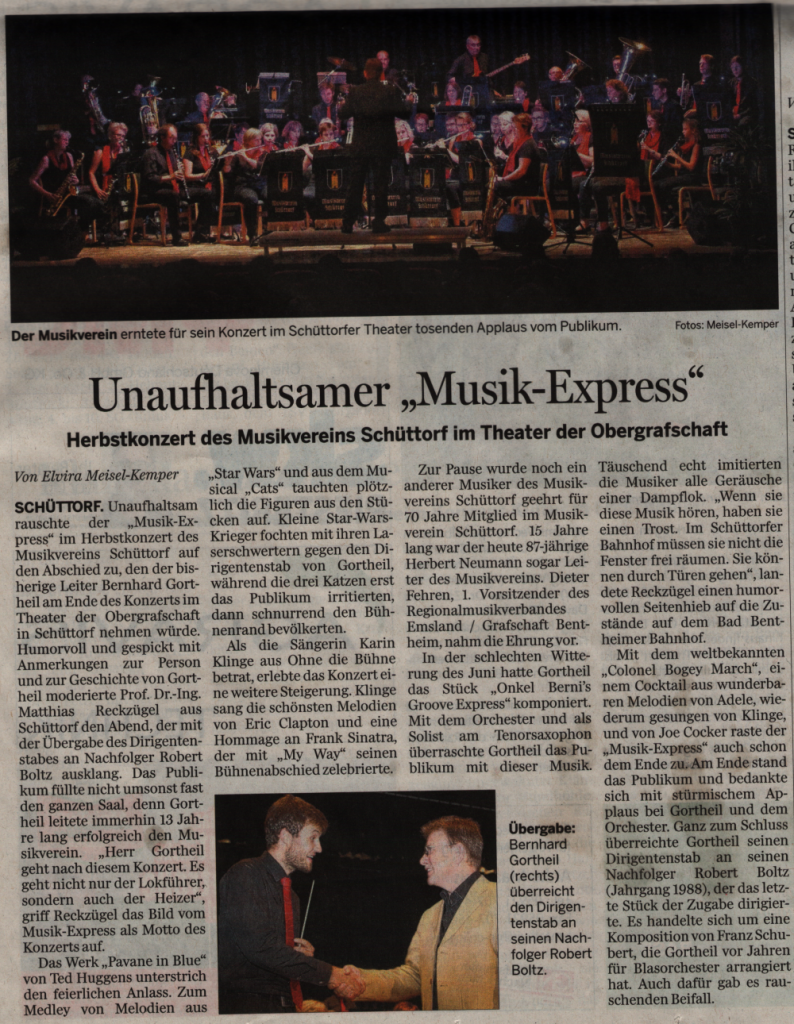 "Presseartikel zum Konzert ""MusikExpress 2016"" aus den Grafschafter Nachrichten vom 05.09.2016"